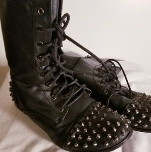 Punk Grunge Spiked Leather Boots